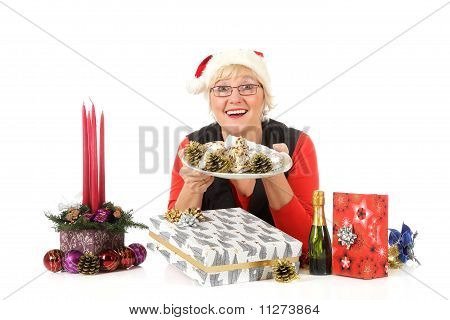 Caucasian Woman, Plate With Traditional Cake