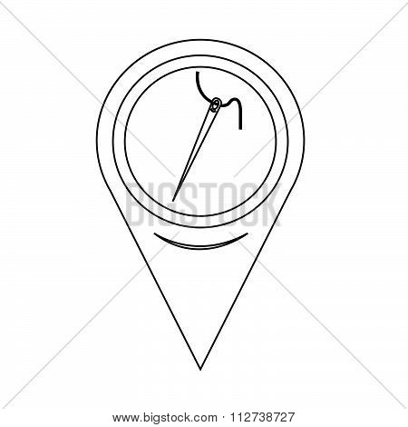 Map Pin Pointer Needle With Thread Icon