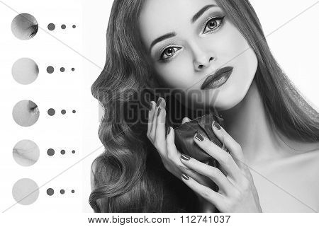 Portrait Woman With Problem And Clear Skin, Aging And Youth Concept Black And White