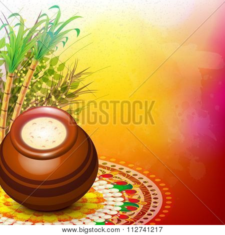 Glossy mud pot, full of rice with sugarcanes on colourful rangoli for South Indian harvesting festival, Happy Pongal celebration.