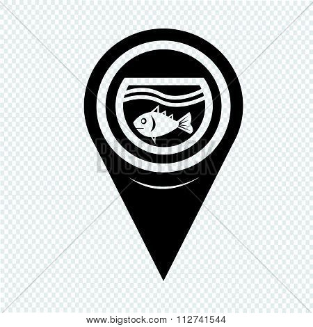 Map Pin Pointer Fish Bowl Icon