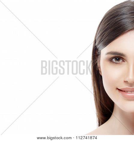 Beautiful Woman Half-face Studio On White