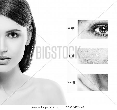 Portrait Of Girl Woman With Problem And Clear Skin, Aging And Youth Concept Black And White