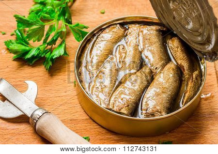 Canned Sardines On The Table