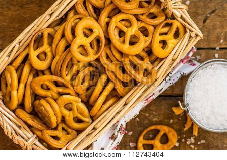 Wicker Basket With Salted ?rackers Pretzels