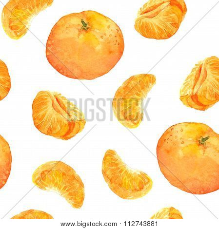 Seamless pattern with mandarin orange fruits
