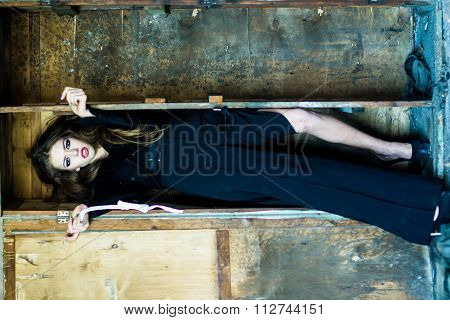 Woman And Old Shelf