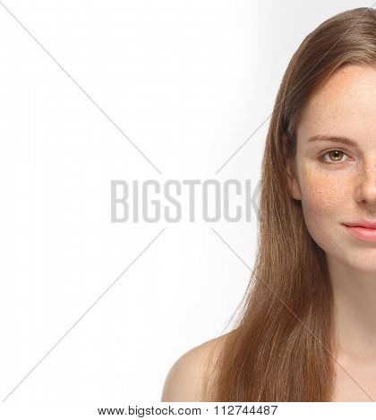 Beautiful Woman Half Face Portrait Young Isolated On White
