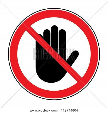 Stop Hand Sign On White Background