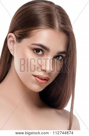 Beautiful Woman. Young Woman Portrait.  Curl Of Hair Hanging Down On Her Chest. Studio Portrait.