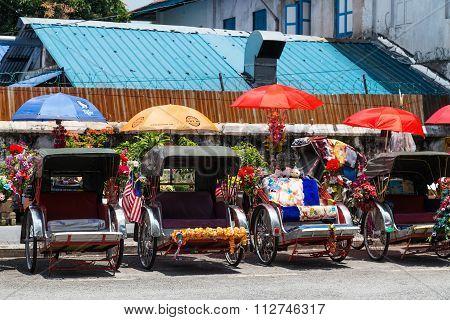 Georgetown, Penang/malaysia - Circa October 2015: Rikshaw Carriages In Georgetown, Penang,  Malaysia