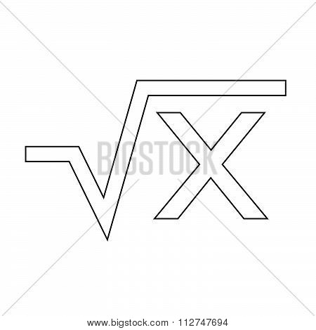 Square Root Equation Icon Illustration Art