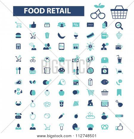 food retail, supermarket shopping retail  icons, signs vector concept set for infographics, mobile, website, application