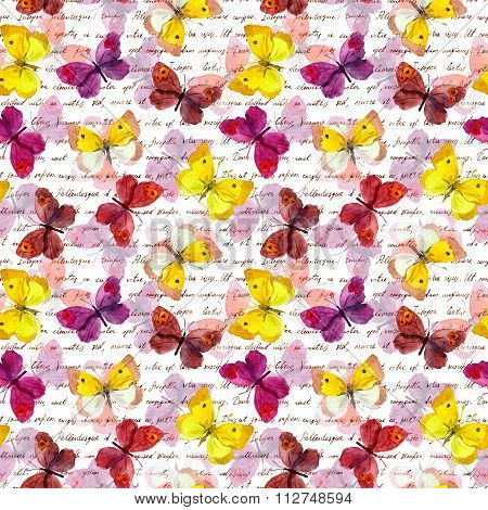 Butterflies and hand written ink text. Watercolor. Repeated pattern