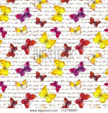 Butterflies and handwritten old letter. Watercolor. Seamless butterfly pattern