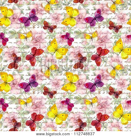 Flowers, butterflies and ink letter text. Water color. Seamless pattern