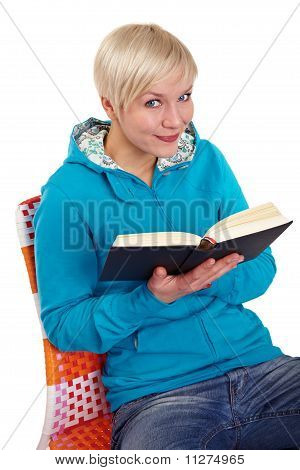Smiling Woman Reads A Book