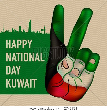 Victory Sign Hand Painted In Kuwait's National Flag