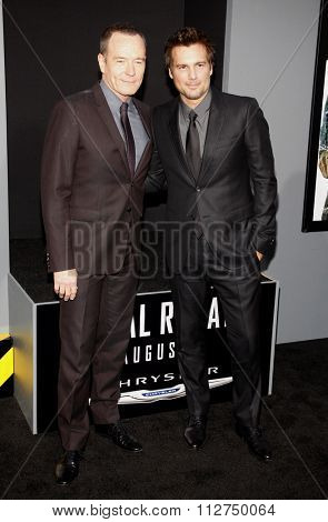 LOS ANGELES, CALIFORNIA - August 1, 2012. Bryan Cranston and Len Wiseman at the Los Angeles premiere of