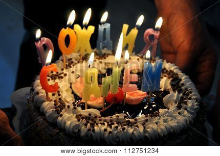Happy Birthday Lit Candles