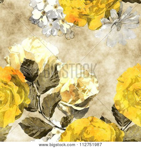 art monochrome watercolor vintage floral seamless pattern with gold yellow roses and asters on beige background