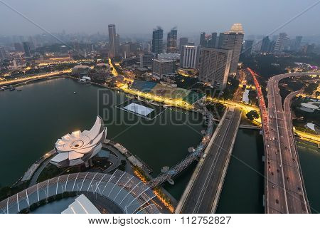 Singapore, Singapore - Circa September 2015: Marina Bay Panorama Of Singapore From The Observatory O