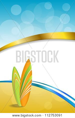 Background abstract sea coast holidays design orange green surfboards beach blue yellow vertical