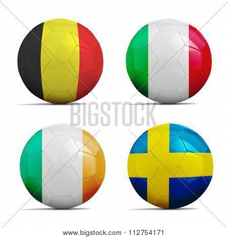 Soccer Balls With Group E Team Flags, Football 2016.