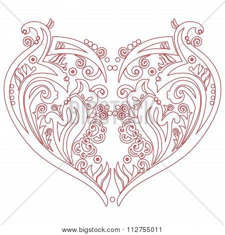 Swirly Heart Tatoo Inspired Cutout Card.eps