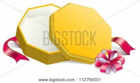 Gift yellow open box tied with bow