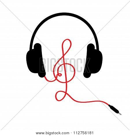 Headphones With Treble Clef Red Cord. Music Card. Flat Design. White Background.