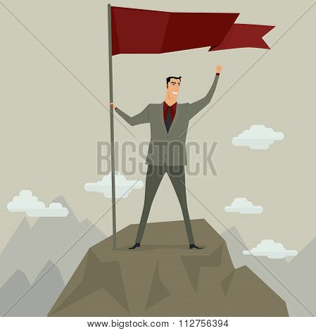 Businessman holding flag on top of mountain.