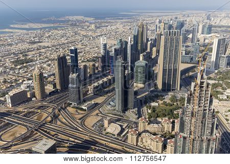 Aerial View Of Downtown Dubai And Skyscrapers