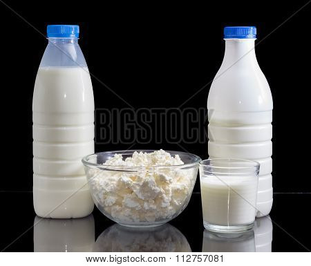 Dairy Produce On A Dark Background