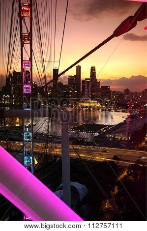 Asia Singapore City Down Town Cityscape Ferris Wheel