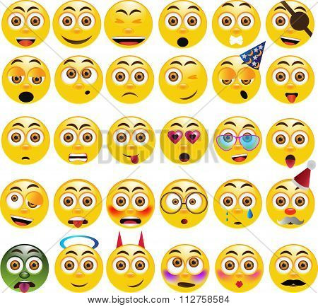 Vector set of 30 emoticons