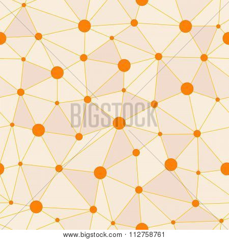 Atomic Background With Interconnected Yellow Dots