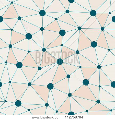 Atomic Background With Interconnected Blue Dots