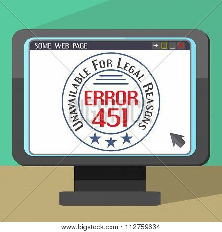 Error 451 Concept With Stamp On Monitor