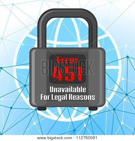Error 451 Concept With Network And Padlock