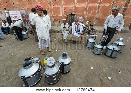 Traditional milk market at the street of Jaipur India.