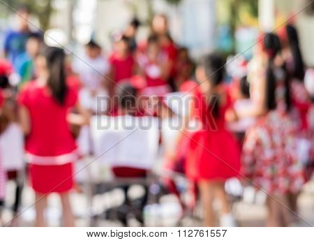 Blurred Childrens Singing Together During Christmas Day