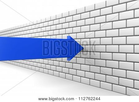 Blue Arrow Crashes Into A Brick Wall