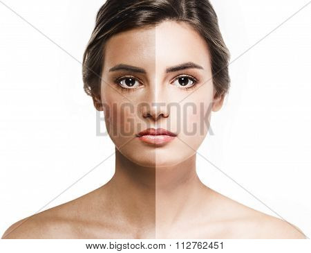 Woman Tan Half Face Beautiful Portrait