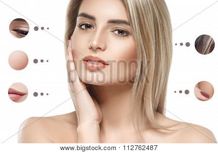 Portrait Woman With Problem And Clear Skin, Youth  Make Up Concept
