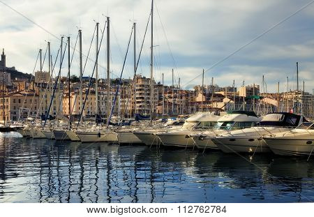 France, Marseille -october 19, 2015: Old Port (vieux-port). Marseille Is France's Largest City On Th