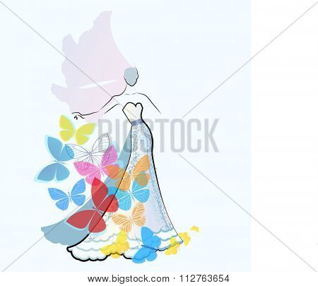 Fashion pallet - bride sketch with butterflies