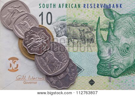 Banknote And Coins Of  Rand Of South Africa