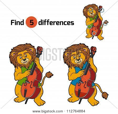 Find Differences, Game For Children (lion And Cello)