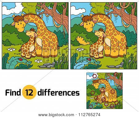 Find Differences, Game For Children (two Giraffes)